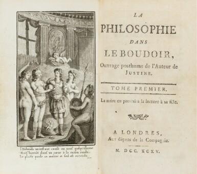 View 2. Thumbnail of Lot 39. La philosophie dans le boudoir. [Paris], 1795. 2 vol. in-12. Reliure de l'époque. Rare édition orignale..