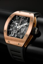RM010 A PINK GOLD CURVED TONNEAU SEMI-SKELETONIZED AUTOMATIC CENTER SECONDS WRISTWATCH WITH DATE, CIRCA 2012