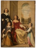 A portrait of Louis Henry, Prince of Nassau-Dillenburg (1594-1662) and his family, full-length, in the portico of a palace