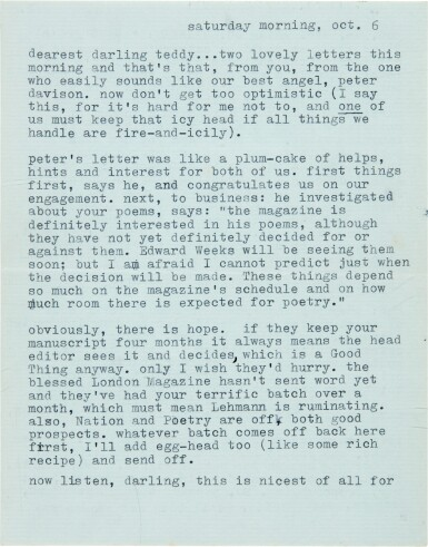 View 1. Thumbnail of Lot 10. Sylvia Plath   Typed letter signed, to Ted Hughes, discussing their poetry, 6 October 1956.