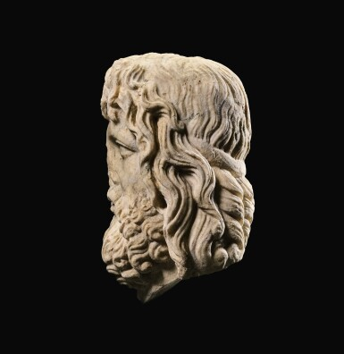 View 5. Thumbnail of Lot 32. A ROMAN MARBLE HEAD OF SARAPIS, CIRCA 2ND CENTURY A.D., ON 19TH CENTURY HERM SHOULDERS.