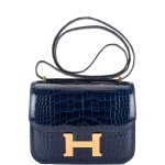 Hermès Bleu Saphir Constance 18cm of Shiny Alligator with Gold Hardware