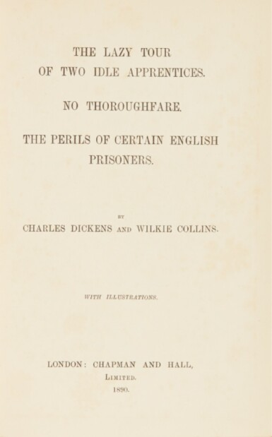 Dickens--Collins, The Lazy Tour of Two Idle Apprentices, 1890, first book edition