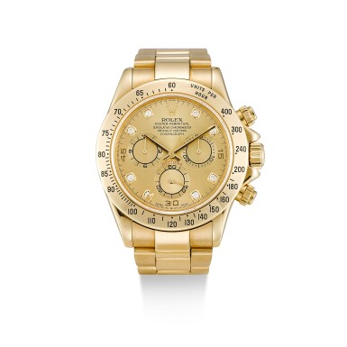 ROLEX  |  COSMOGRAPH DAYTONA, REFERENCE 116528,  A YELLOW GOLD AND DIAMOND-SET CHRONOGRAPH WRISTWATCH WITH BRACELET, CIRCA 2000