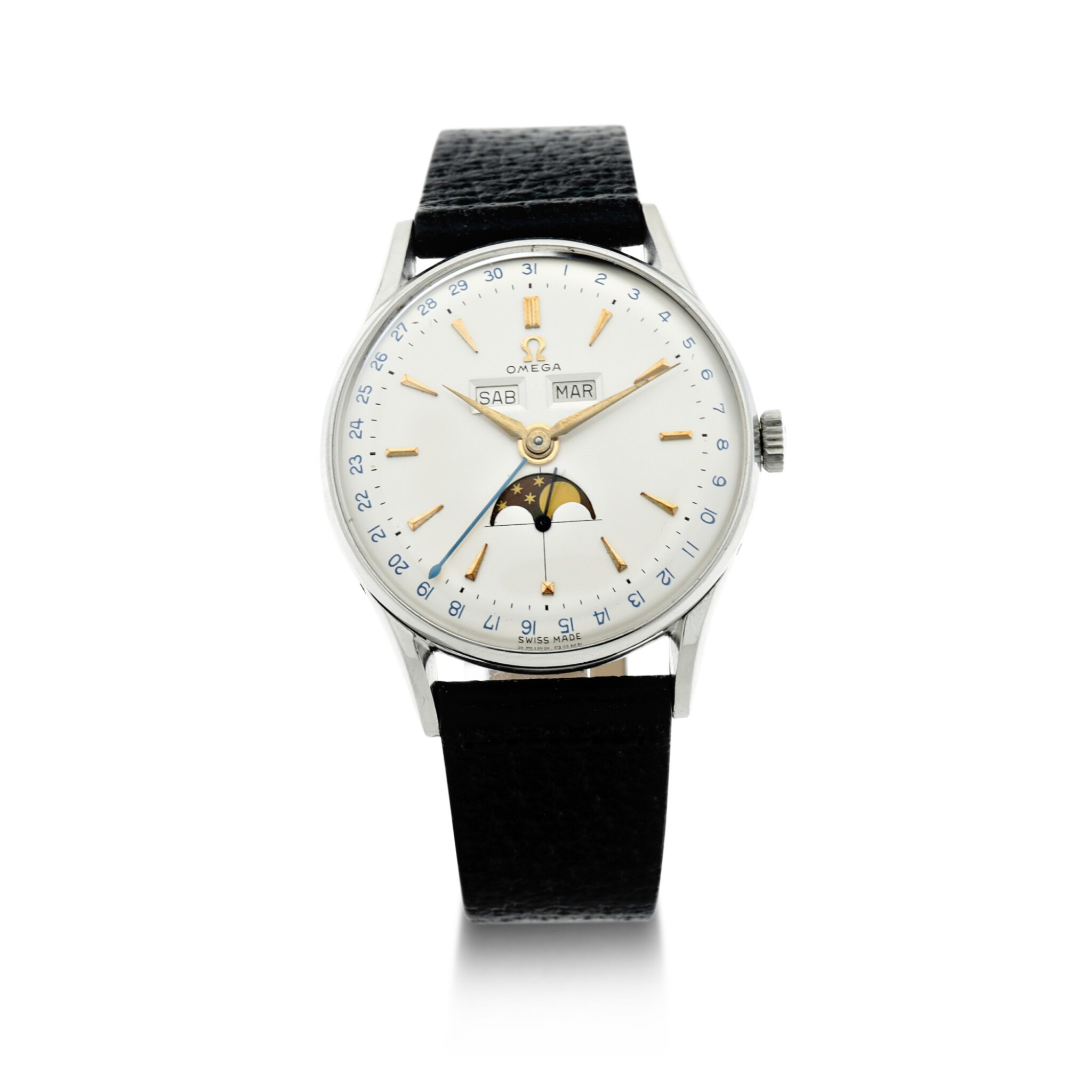 View full screen - View 1 of Lot 250. REFERENCE 2471/1 COSMIC A STAINLESS STEEL TRIPLE CALENDAR WRISTWATCH WITH MOON PHASES, CIRCA 1950.