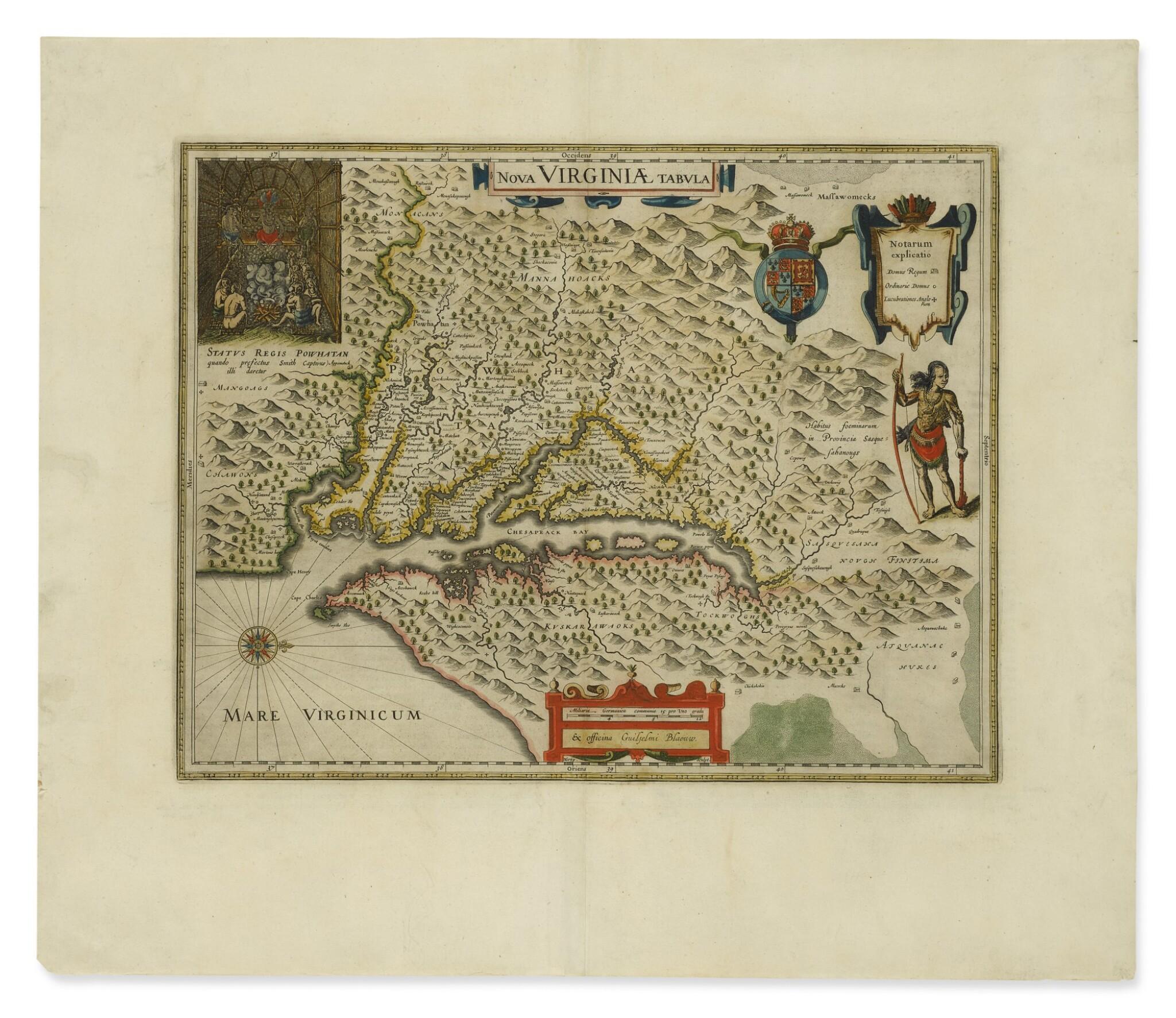 View full screen - View 1 of Lot 172. BLAEU, WILLEM JANSZOON   Nova Virginae tabula. [Amsterdam, ca. 1640 or later].