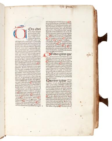 View 1. Thumbnail of Lot 43. Alexander de Ales, Super universae theologiae, Venice, 1475, contemporary Germanic pigskin binding.