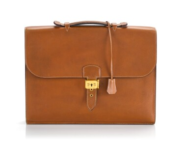View 1. Thumbnail of Lot 25. SAC À DÉPÊCHES 38 EPSOM LEATHER IN GOLD COLOR WITH GOLD HARDWARE. HERMÈS, 1990 .