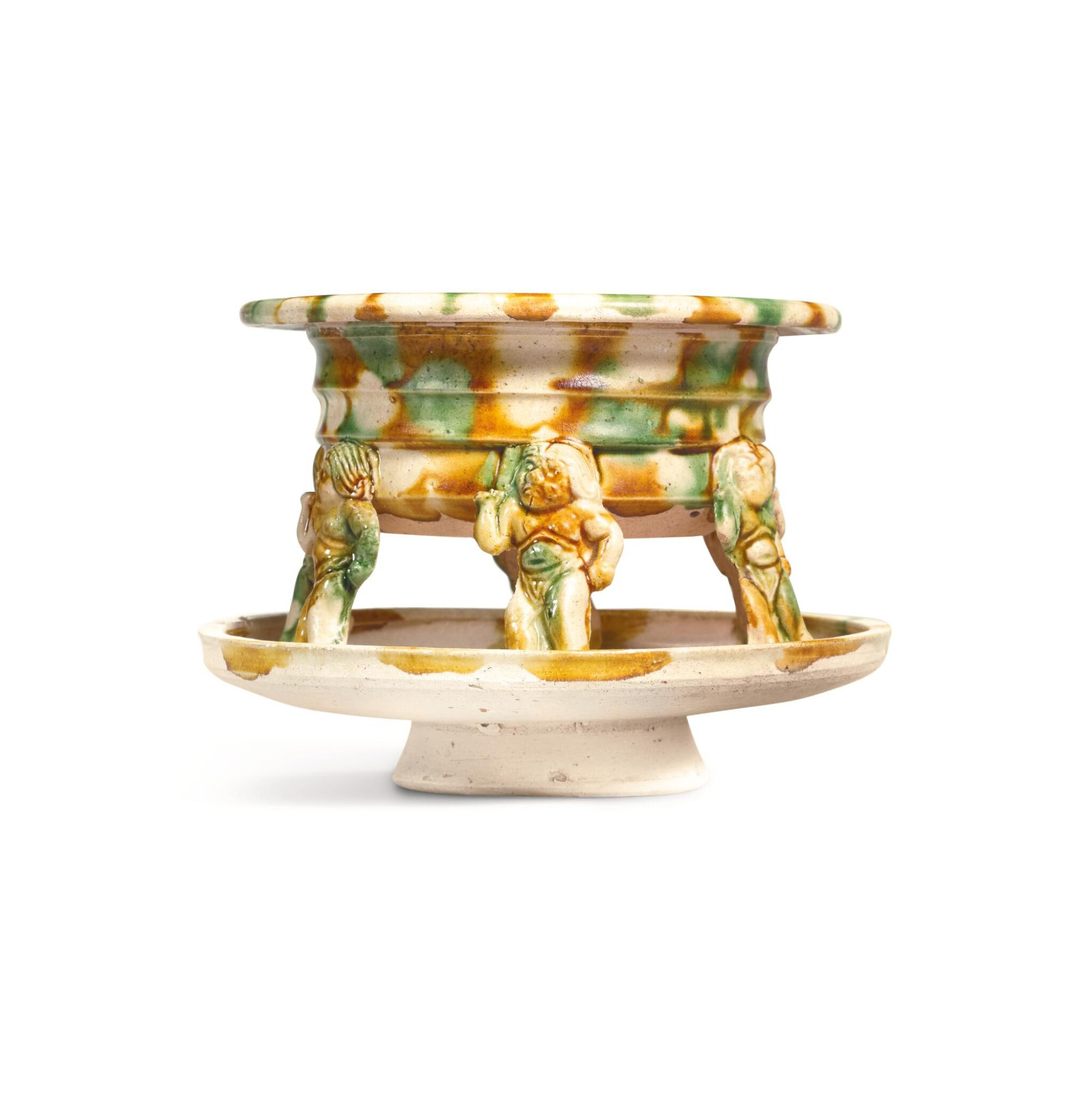 View full screen - View 1 of Lot 228. A RARE SANCAI-GLAZED INCENSE BURNER, TANG DYNASTY | 唐 三彩力士六足香爐.