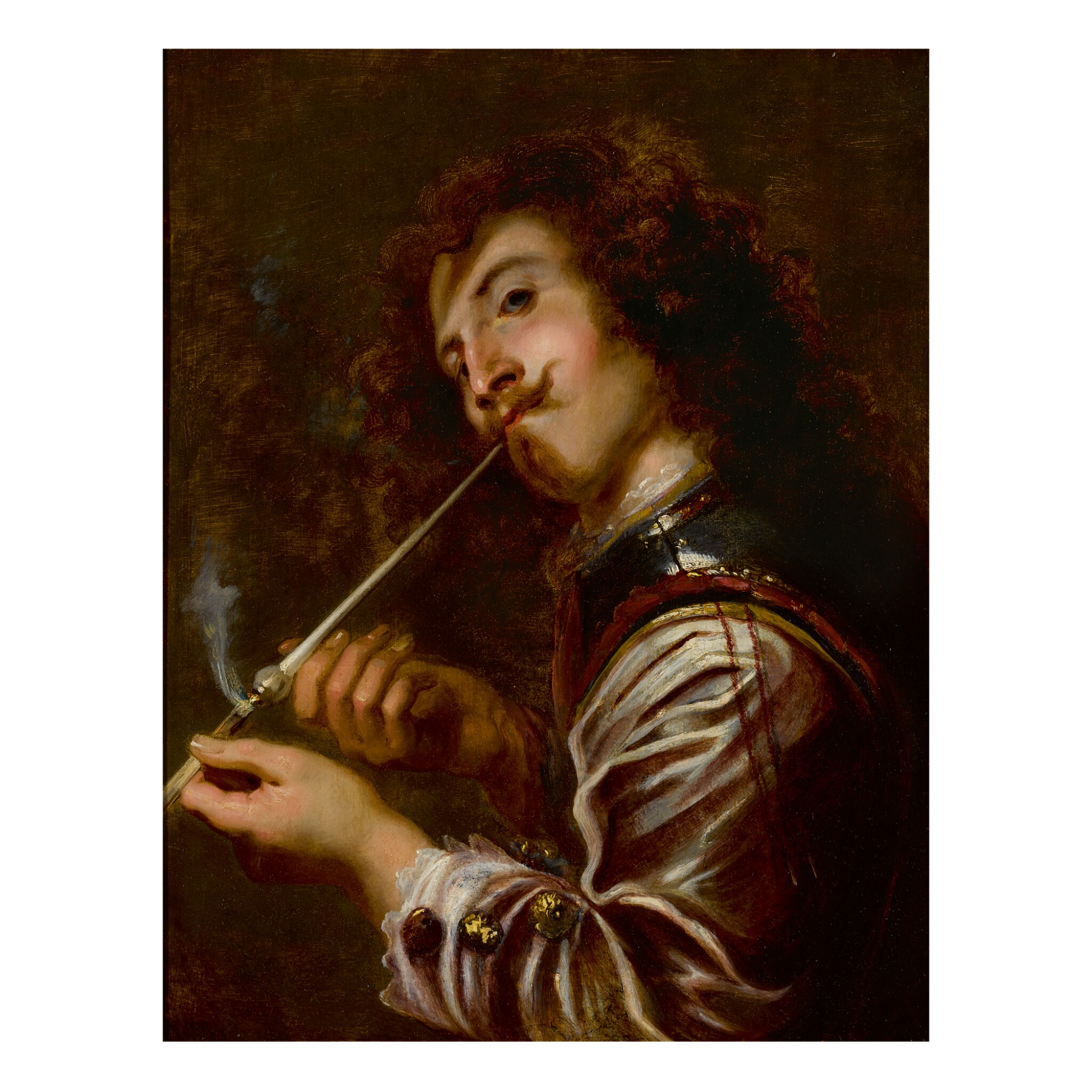 View full screen - View 1 of Lot 92. JAN COSSIERS | A SOLDIER SMOKING A PIPE.