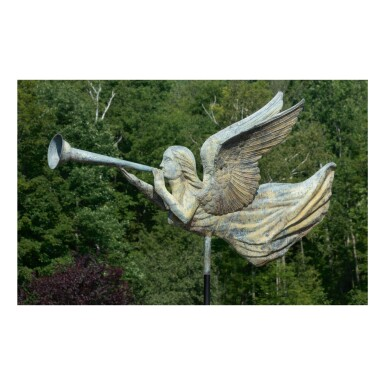 HIGHLY IMPORTANT MOLDED FULL BODIED SHEET COPPER ANGEL GABRIEL WEATHERVANE, POSSIBLY MOTT CO., CHICAGO, ILLINOIS, CIRCA 1872