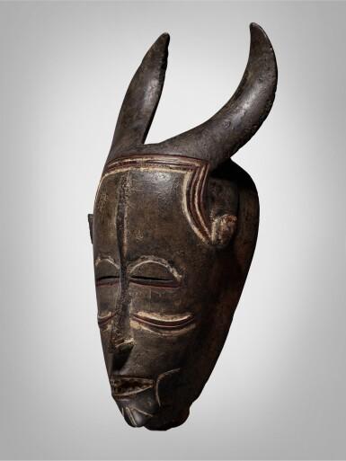 View 3. Thumbnail of Lot 44. Ligbi Horned Mask, Côte d'Ivoire.