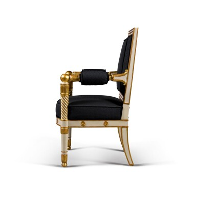 View 3. Thumbnail of Lot 12. A set of four Empire white painted and parcel gilt fauteuils, by Jacob, early 19th century.