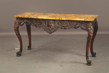 View 3. Thumbnail of Lot 522. AN IRISH GEORGE III CARVED MAHOGANY CONSOLE TABLE, MID-18TH CENTURY.