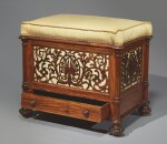 AN EARLY VICTORIAN ROSEWOOD PIANO STOOL BY GILLOWS, CIRCA 1850
