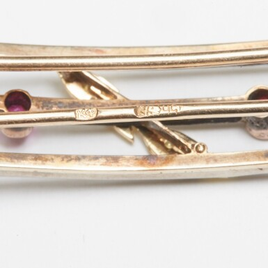 View 3. Thumbnail of Lot 17. A Fabergé jewelled varicolour gold hairclip, Moscow, 1899-1908.