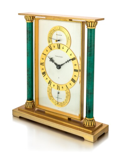 JAEGER-LECOULTRE   A GILT BRASS CLOCK WITH BAROMETER, THERMOMETER AND 8 DAYS POWER RESERVE, CIRCA 1970