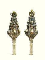 A PAIR OF DUTCH SILVER-GILT AND JEWEL-SET FILIGREE TORAH FINIALS, HEDDE BUYS, SCHOONHOVEN, 1840-57