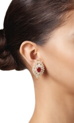 PAIR OF RUBY AND DIAMOND EARCLIPS