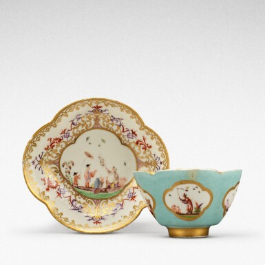 View 1. Thumbnail of Lot 105. A Meissen seladon-ground teabowl and a saucer, the tea bowl Circa 1735, the saucer later .