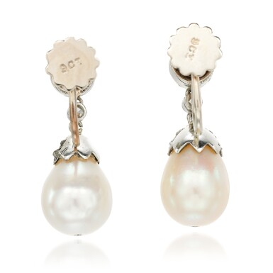 View 3. Thumbnail of Lot 27. Pair of natural pearl and diamond earrings, early 20th century composite.
