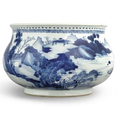 View 2. Thumbnail of Lot 142. A blue and white 'landscape' censer, Qing dynasty, Kangxi period | 清康熙 青花山水人物圖爐  《大明成化年製》仿款.
