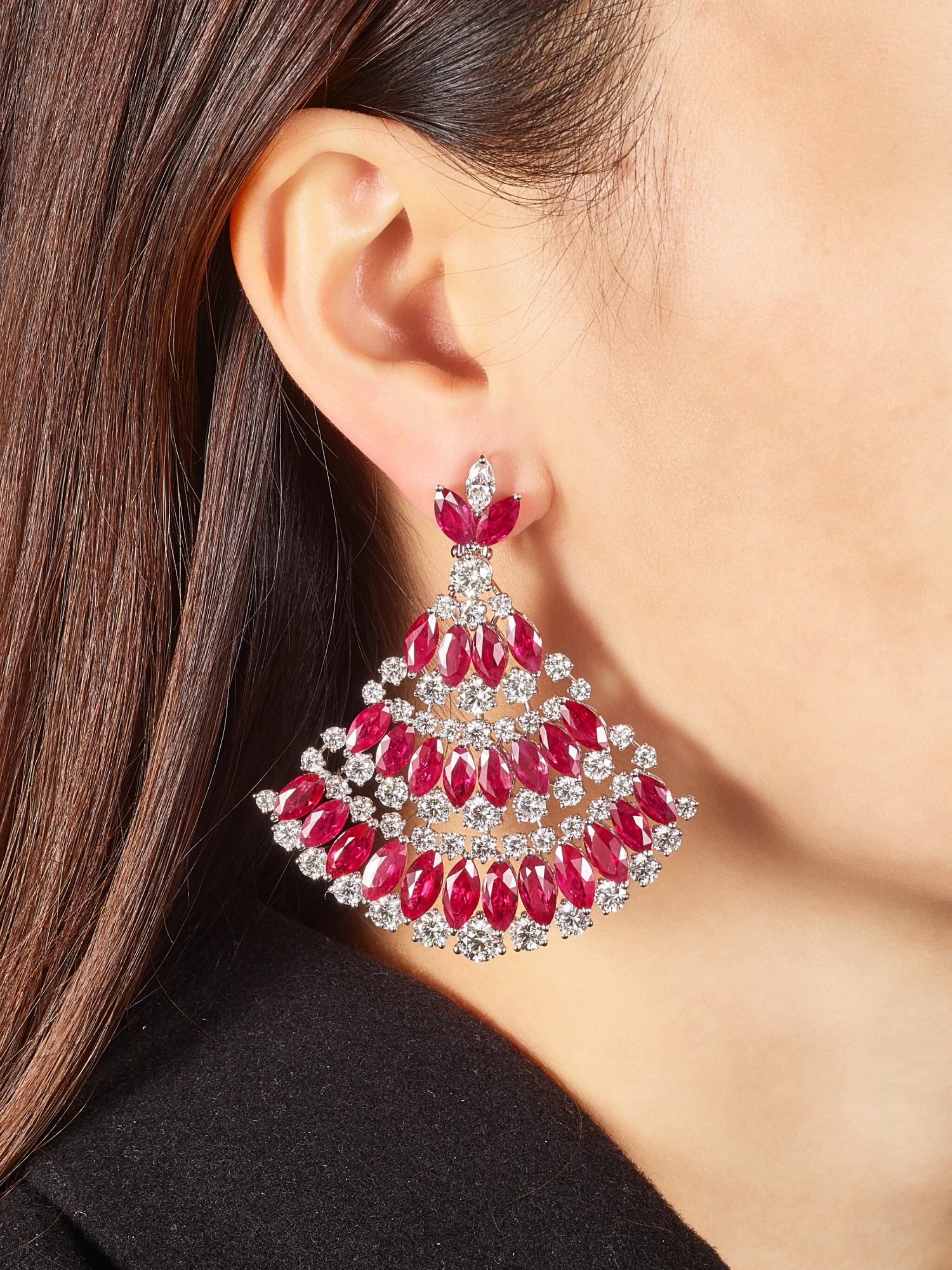 View full screen - View 1 of Lot 1018. Pair of Ruby and Diamond Earrings | 格拉夫| 紅寶石 配 鑽石 耳墜一對 (紅寶石及鑽石共重約49.20及23.30克拉).