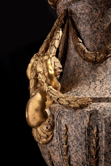 View 6. Thumbnail of Lot 57. A Monumental Pair of Gilt Bronze-Mounted Pink Granite Vases, the Mounts Circa 1840 After Designs by Jean-Louis Prieur or Jean-François Forty; the Vases Possibly Late 18th Century.