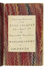 [AFRICA — TRAVEL AND SPORTING] | Shooting Excursions into the Zulu Country July & August 1866 - Or the Unparalled [sic] Adventures of Mancookiaane and Umdanda. [N.P.]: manuscript diary account, ca. 1866