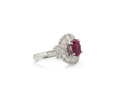 View 2. Thumbnail of Lot 55. RUBY AND DIAMOND RING.