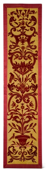 AN APPLIQUÉ PANEL OF RED VELVET ON A YELLOW SILK GROUND, ITALIAN OR SPANISH, IN 16TH CENTURY STYLE, CIRCA 1860