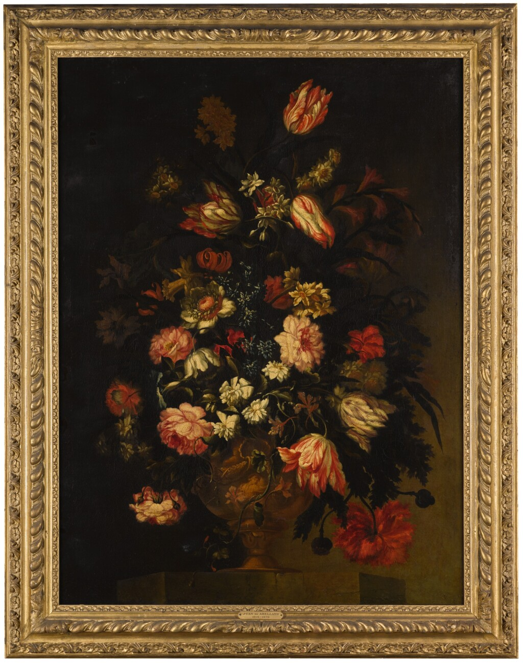 FRANCESCO MANTOVANO | Still life of flowers in an urn, including tulips, roses and poppies, all on a stone ledge