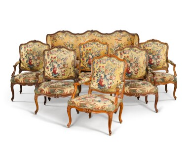 View 1. Thumbnail of Lot 78. A Louis XV suite of carved beechwood seat furniture by Michel Cresson, mid-18th century.