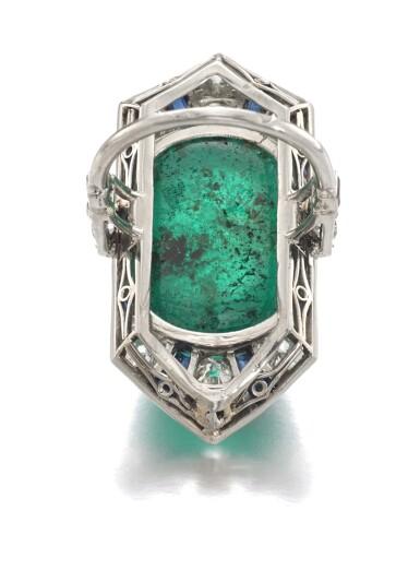 View 3. Thumbnail of Lot 609. Henri Picq | Emerald and gem set and diamond ring, circa 1930 | Henri Picq | 祖母綠配寶石及鑽石戒指,年份約1930.