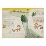 AN ILLUSTRATION TO A BHAGAVATA PURANA SERIES: AKRURA TRAVELS TO HASTINAPURA TO MEET KUNTI,  BIKANER, INDIA, CIRCA 1690-1710