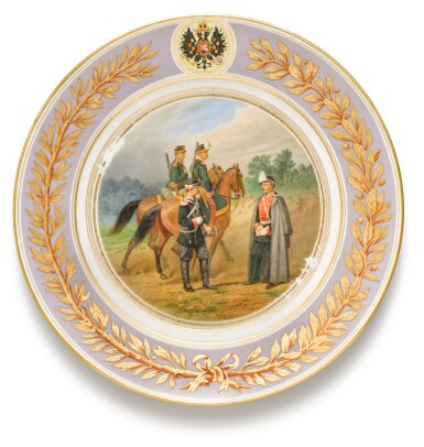 View 2. Thumbnail of Lot 107. Two porcelain military plates, Imperial Porcelain Factory, St Petersburg, period of Alexander II, 1875.