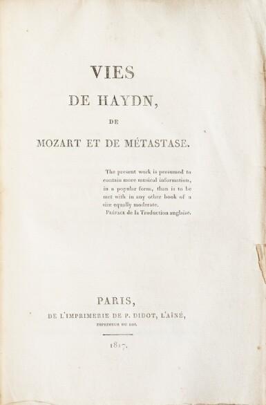 View 3. Thumbnail of Lot 171. Vies de Haydn... 1817. Broché. Exemplaire tel que paru, avec un envoi autographe à Camillo Ugoni..