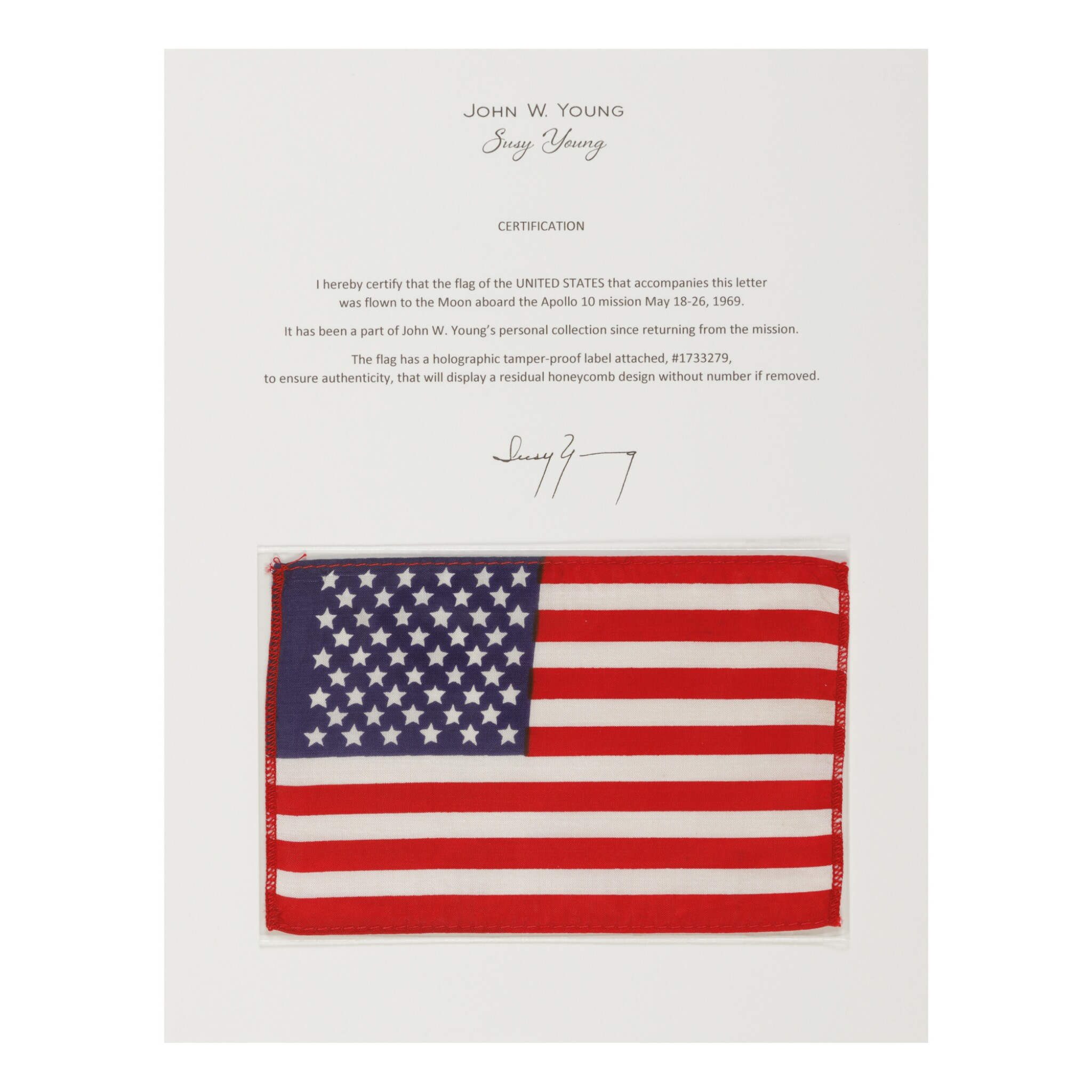 View full screen - View 1 of Lot 95. [APOLLO 10]. FLOWN ON APOLLO 10. UNITED STATES OF AMERICA FLAG FROM THE COLLECTION OF JOHN YOUNG.