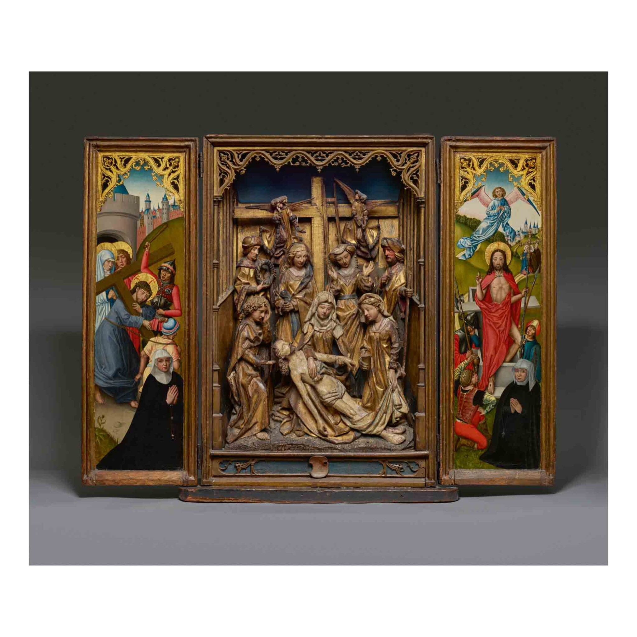 View full screen - View 1 of Lot 105. Retable with the Lamentation.