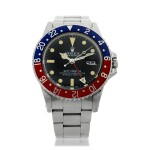 ROLEX   REFERENCE 16750 GMT-MASTER 'PEPSI' A STAINLESS STEEL AUTOMATIC DUAL TIME WRISTWATCH WITH DATE AND BRACELET, CIRCA 1980