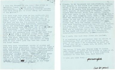 View 4. Thumbnail of Lot 10. Sylvia Plath   Typed letter signed, to Ted Hughes, discussing their poetry, 6 October 1956.