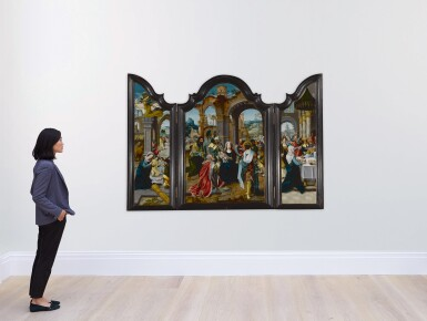 View 3. Thumbnail of Lot 103. A triptych: The Nativity, The Adoration of the Magi, The Presentation in the Temple.
