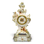 A BERLIN (K.P.M) PORCELAIN CLOCK CASE AND STAND LATE 19TH CENTURY