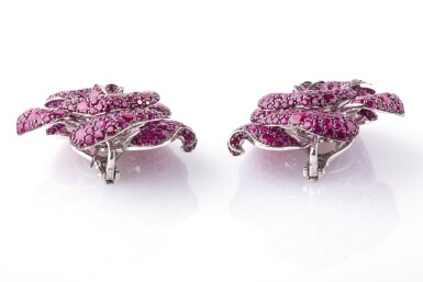 View 3. Thumbnail of Lot 18. Pair of ruby ear clips,Michele della Valle.