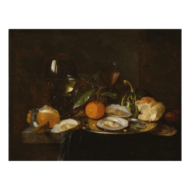 CIRCLE OF JAN DAVIDSZ. DE HEEM | STILL LIFE WITH A ROEMER, A WINE GLASS, OYSTERS, AN ORANGE, A MELON, AND A ROLL, ALL ON A TABLE DRAPED IN A CLOTH