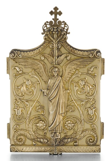 View 2. Thumbnail of Lot 507. A SILVER-GILT TRIPTYCH ICON, MAKER'S MARK DS (CYRIILIC), MOSCOW, 1899-1908.