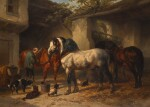 WOUTERUS VERSCHUUR | Horses in a Stableyard