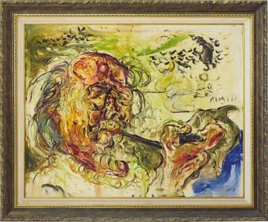 View 2. Thumbnail of Lot 1060. Affandi 阿凡迪 | Self-Portrait with Pipe 叼煙斗的自畫像.