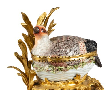 View 4. Thumbnail of Lot 91. A MEISSEN PORCELAIN PARTRIDGE-FORM TUREEN AND COVER, MOUNTED ON A ROCOCO GILT BRONZE BASE, EARLY 19TH CENTURY.