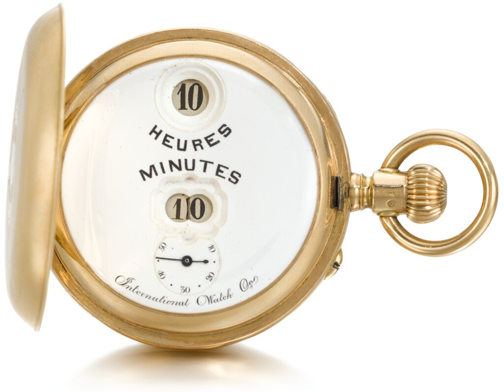 IWC | A GOLD HUNTING CASED DIGITAL DISPLAY KEYLESS LEVER 'PALLWEBER' WATCH   CIRCA 1900, NO. 29529